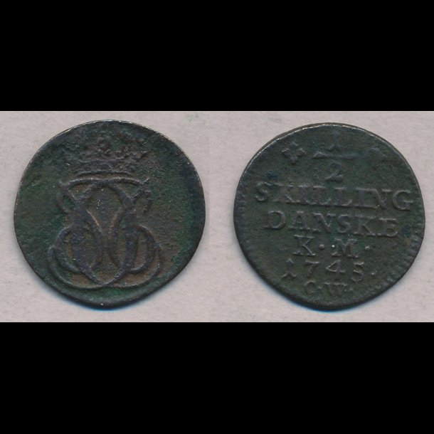 1745, Christian VI, ½ skilling,