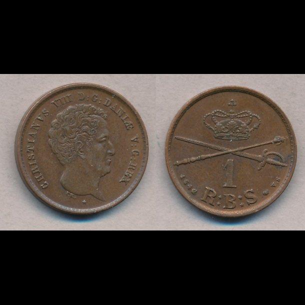 1842, Christian VIII, 1 rigsbankskilling, VS,