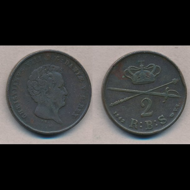 1842, Christian VIII, 2 rigsbankskilling, 1