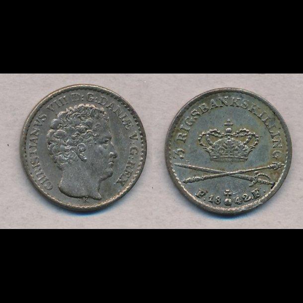 1842, Christian VIII, 3 rigsbankskilling, 1++