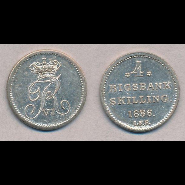 1836, Frederik VI, 4 rigsbank skilling, 01