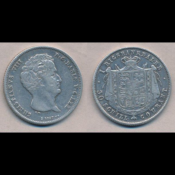 1847, FF, Christian VIII, 1 rigsbankdaler, 1, H4B,
