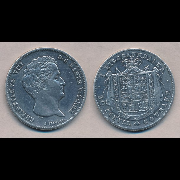 1847, FF, Christian VIII, 1 rigsbankdaler, 1 (+), H4B,