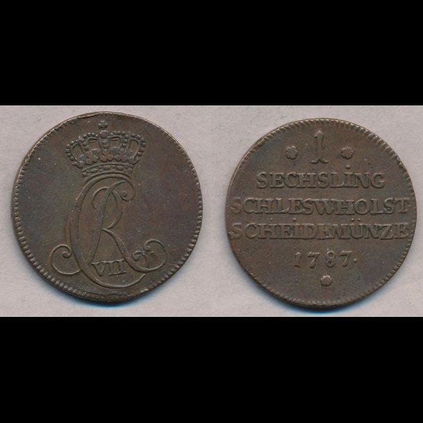 1787, Christian VII, 1 sechsling, 01, H46,