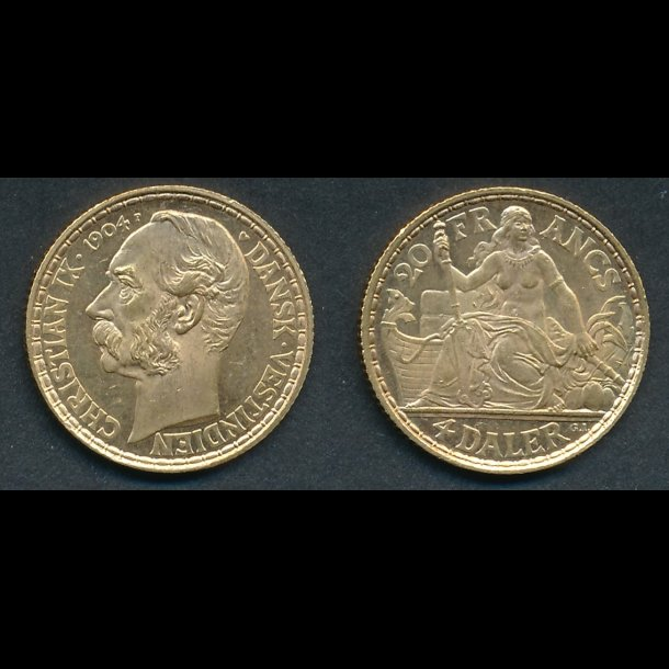 1904, Christian IX, 4 daler, Dansk Vestindien, 0 / 01