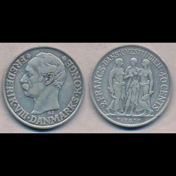 1907, Frederik VIII, Dansk Vestindien, 40 cents, 1