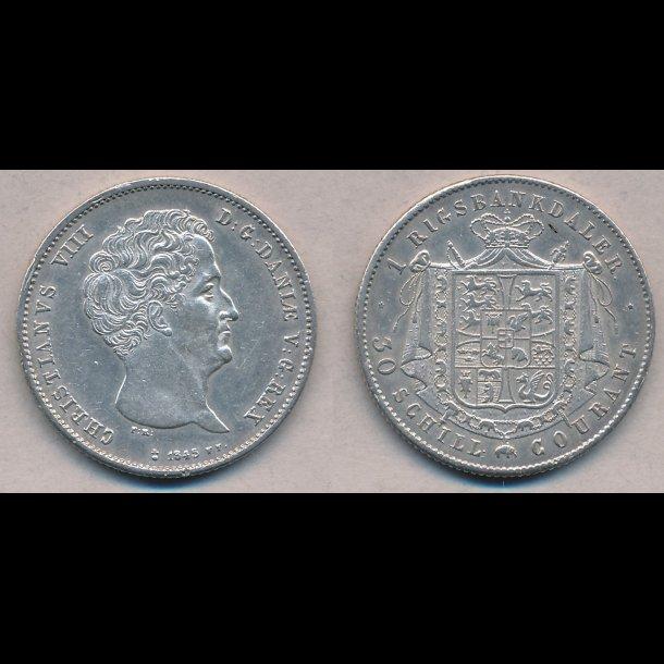1845, FF, Christian VIII, 1 rigsbankdaler, 1+, H4B,