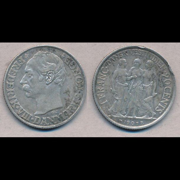 1907, Frederik VIII, Dansk Vestindien, 20 cents,