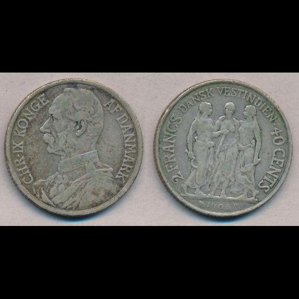 1905, Christian IX, Dansk Vestindien, 40 cents, 1