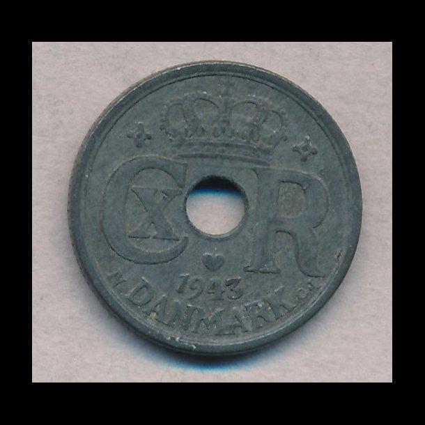 1943, 10 øre, zink, 1+/1