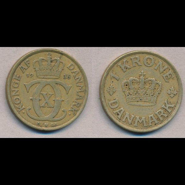 1935, Christian X, 1 krone, 1(+)