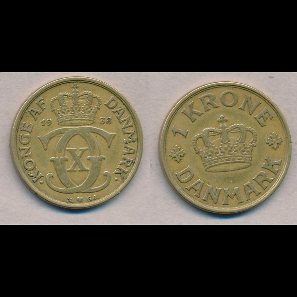 1938, Christian X, 1 krone, 1(+)