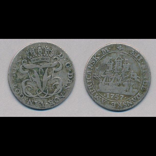 1757, Dansk Vestindien, Frederik V, 12 skilling, 1 (+)