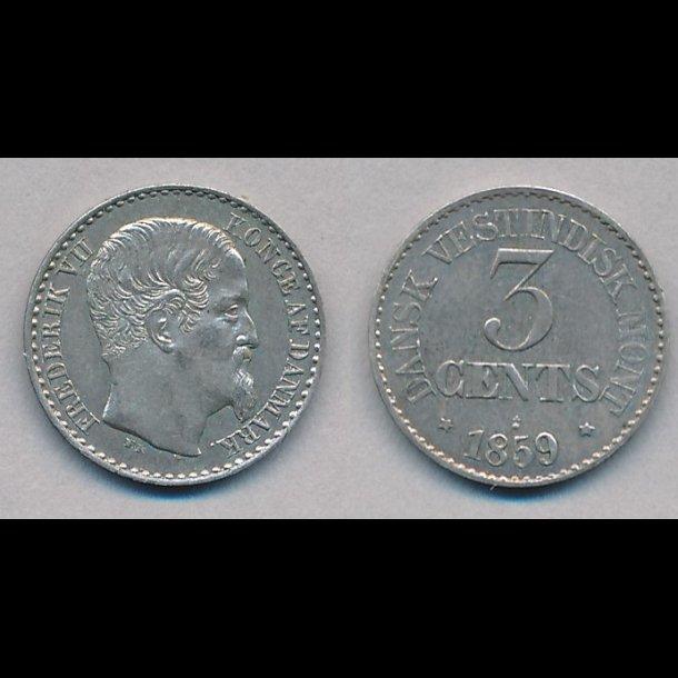 1859, Dansk Vestindien, 3 cents, 01