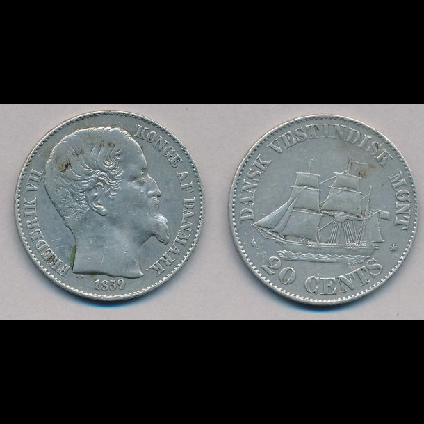 1859, Dansk Vestindien, Frederik VII, 20 cents, 1+, lbnr 30