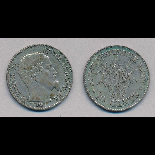 1862, Dansk Vestindien, 10 cents, 1+