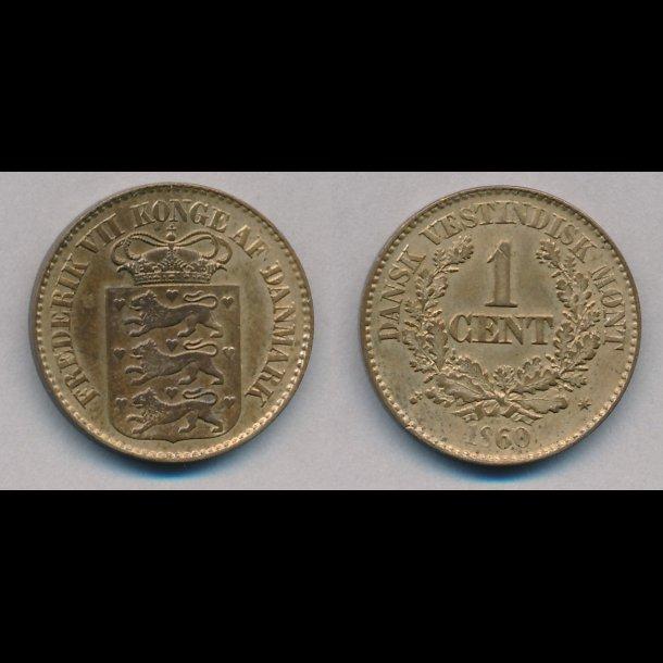 1860, Dansk Vestindien, 1 cent,