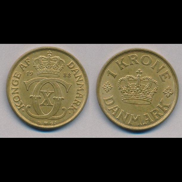 1938, 1 krone, gul en krone, 01