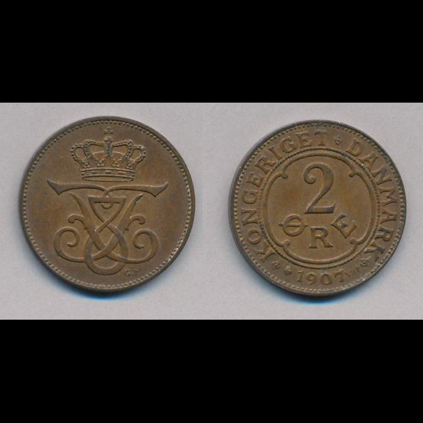 1907, 2 øre, 1+