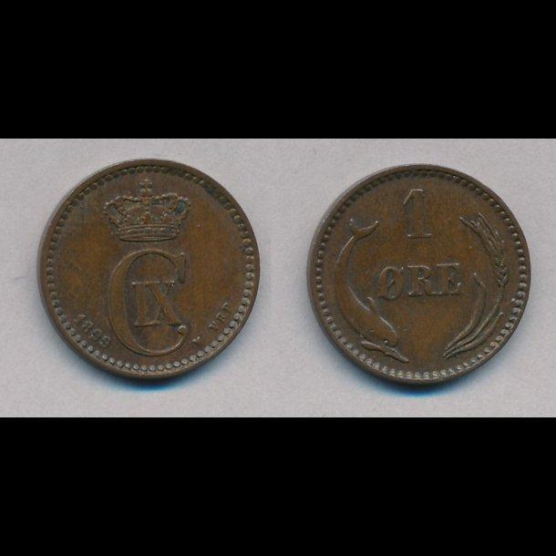 1889-1904, 1 øre, CHR IX