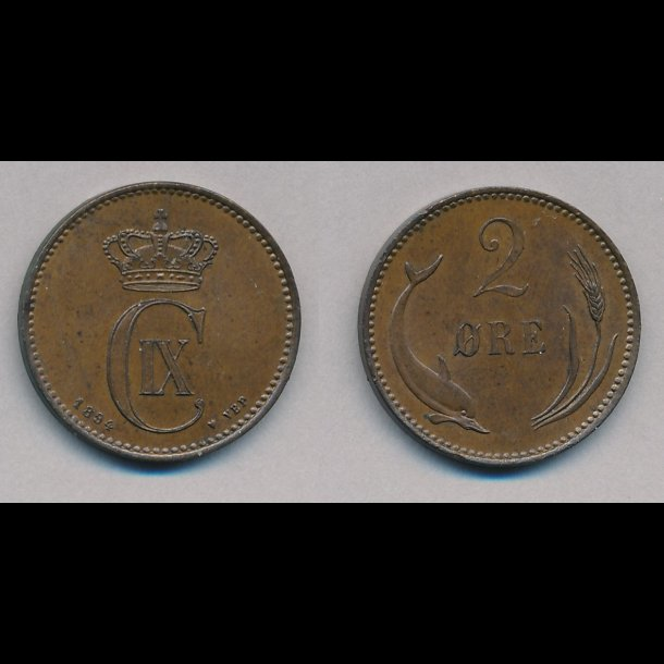 1875, Christian IX, 2 øre, 1