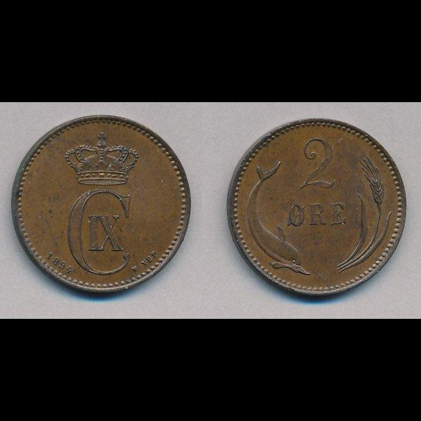 1883, Christian IX, 2 øre,