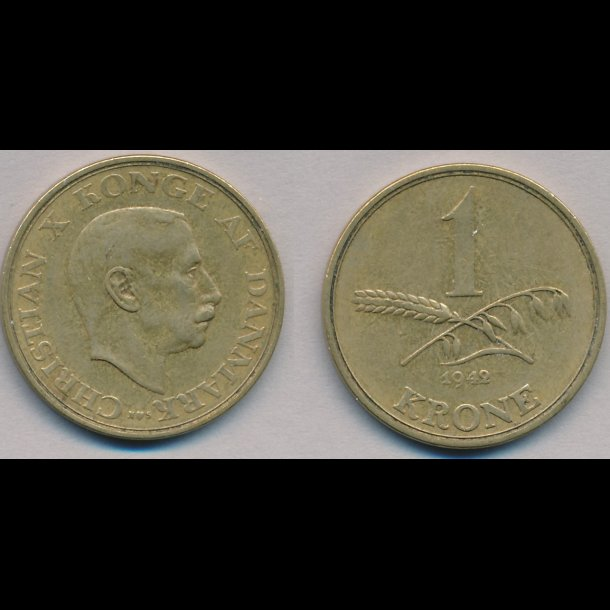 1943, Christian X, 1 krone, 1(+)