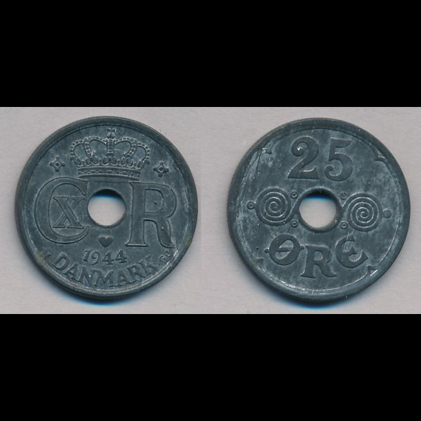 1942, 25 øre, zink, 1+/1