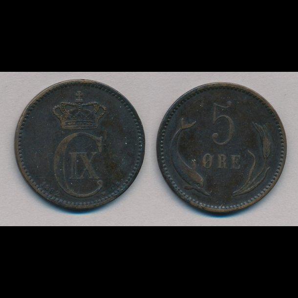 1882, Christian IX, 5 øre, 1