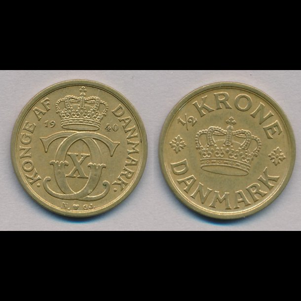 1940, Christian X, ½ krone, 1+,