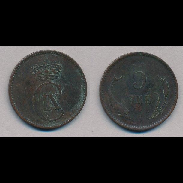 1884, Christian IX, 5 øre, 1