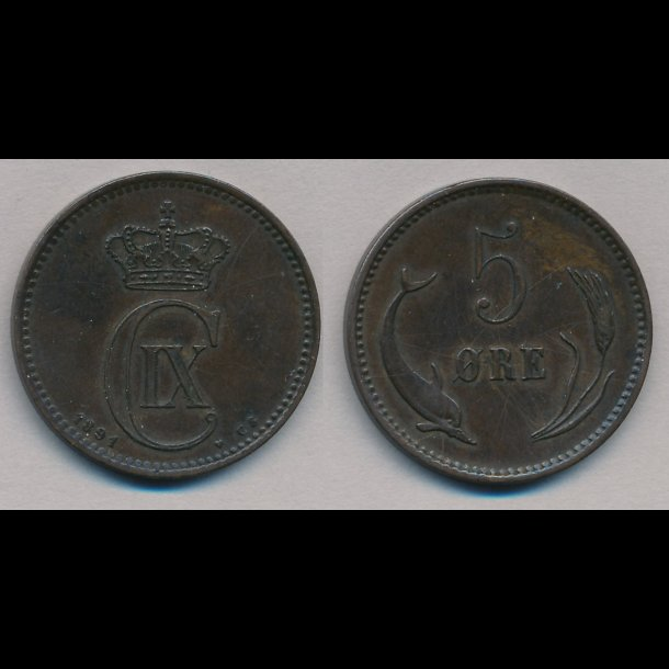 1891, Christian IX, 5 øre, 1+