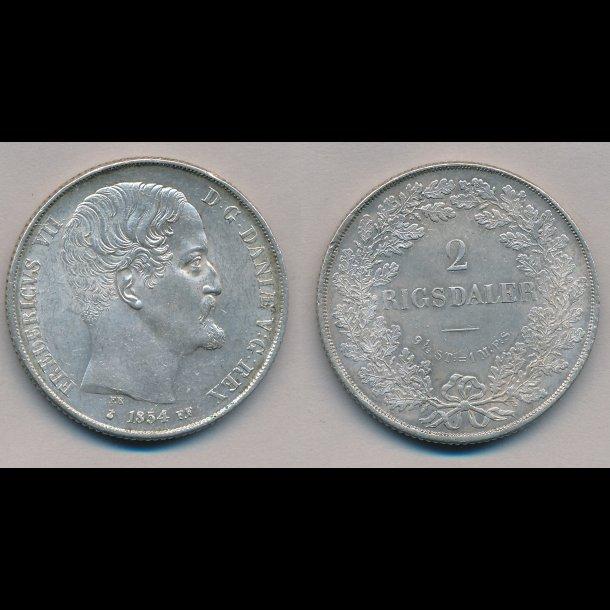 1854, FF, Frederik VII, 2 rigsdaler, 01 / 0, H6B,