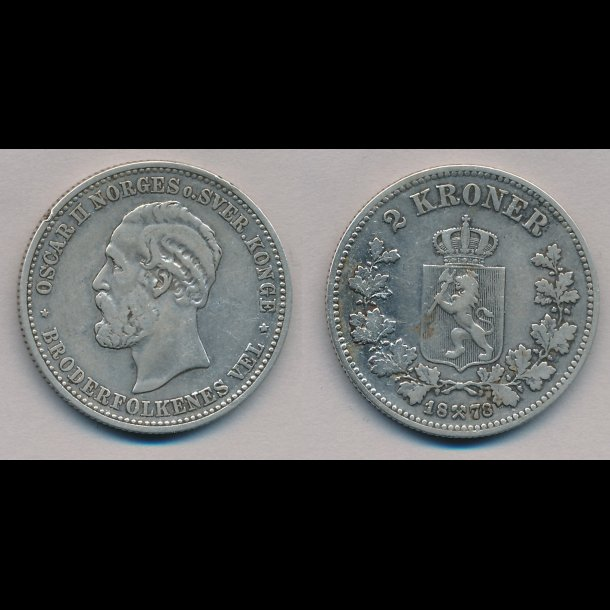 1878, Norge, Oscar II, 2 kroner, 1+