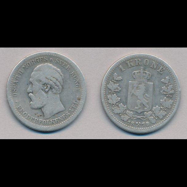1878, Norge, Oscar II, 1 krone, 1-