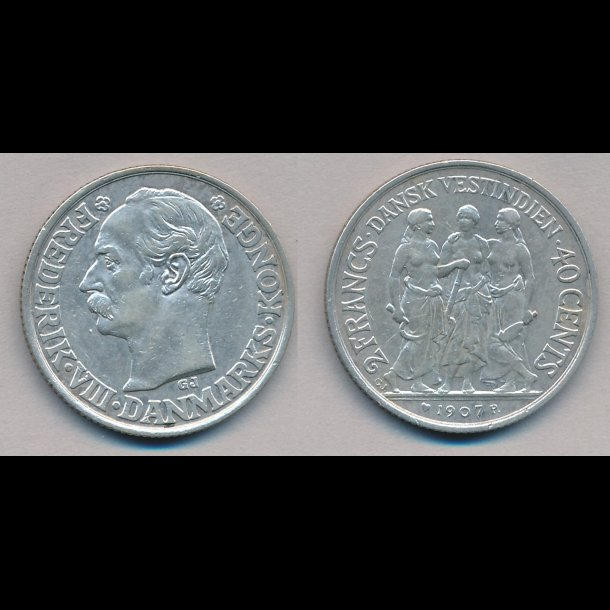 1907, Dansk Vestindien, Frederik VIII, 40 cents, 01