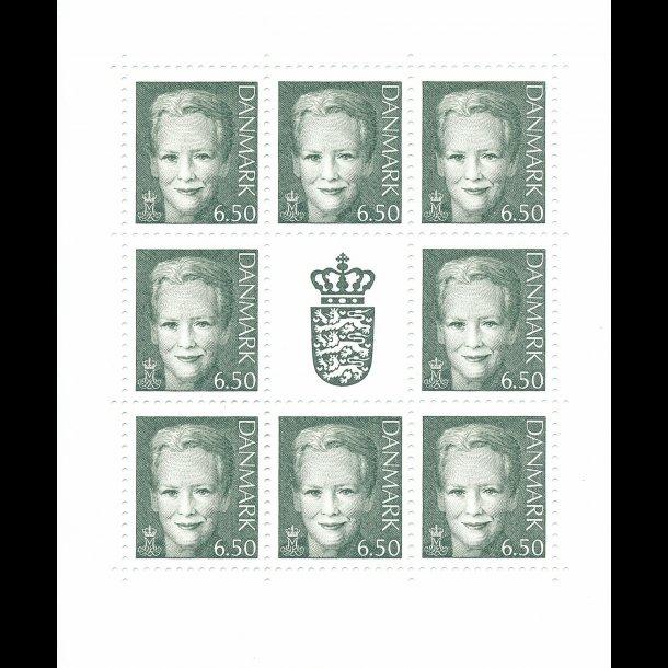 08, 6,50 kroner, grøn Dronning Margrethe II,