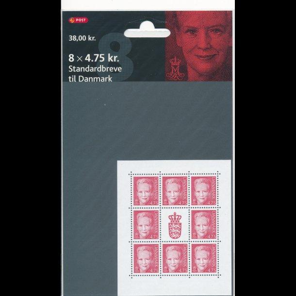 24, 4,75 kroner, rød Dronning Margrethe II frimærker,