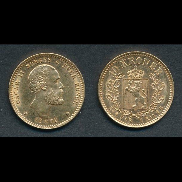 1902, Norge, Oscar II, 10 kroner, Norge, 01