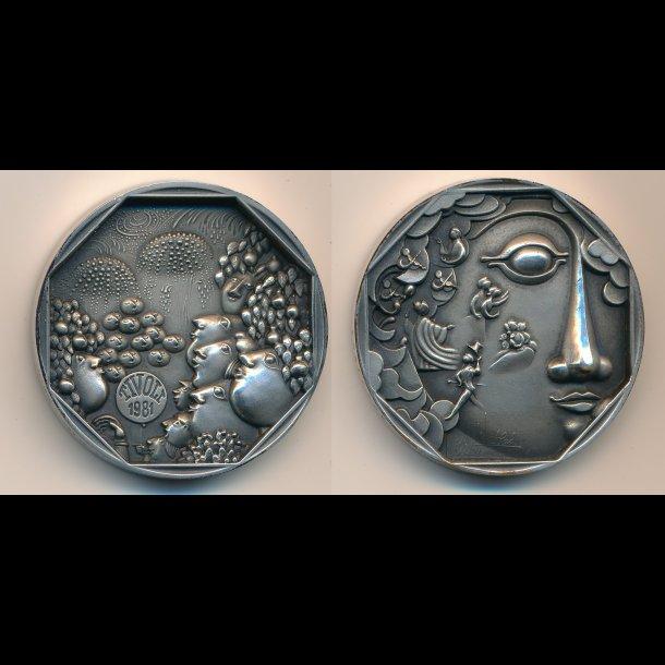 1981, Bjørn Wiinblad Tivoli medalje, 925 sølv, 50mm, 73 g