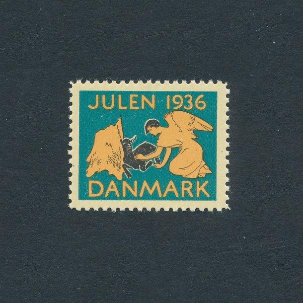 1936, Julemærke, Danmark, Engel og lam,