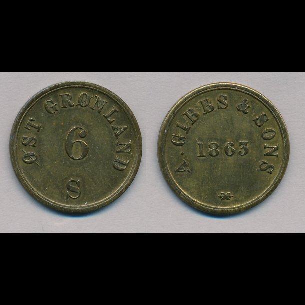 1863, Gibbs & Sons, 6 skilling, 1+
