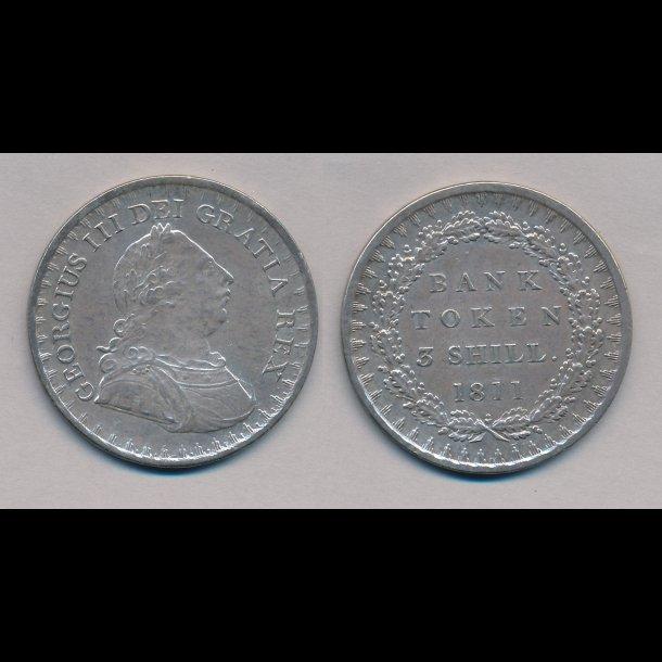 1811, England, George III, 3 Shilling Bank Token, 1+