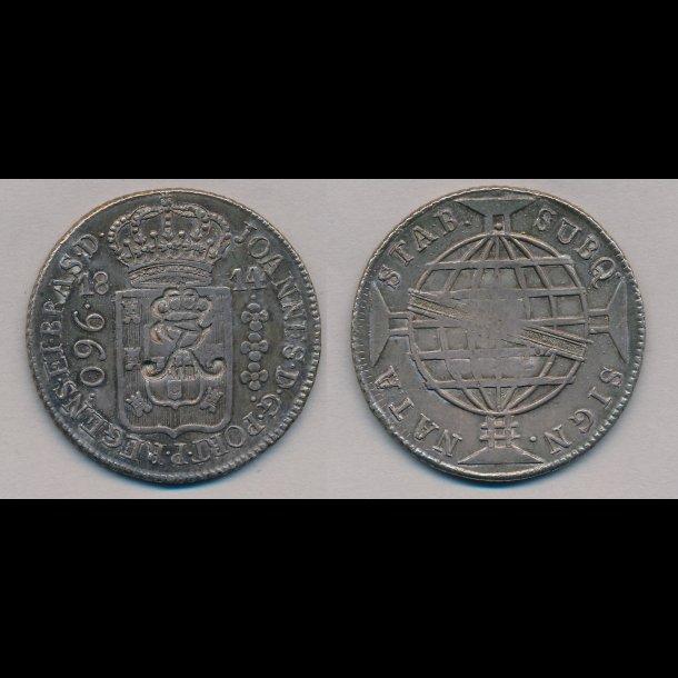 1814, Dansk Vestindien, Brasilien, Joao VI, 960 Reis, kontramarkeret med kronet Fr. VII