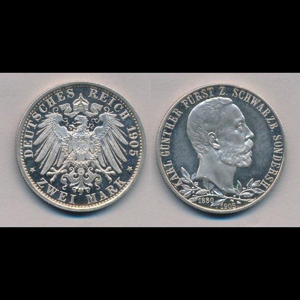 1905, Tyskkland, 2 mark, Karl Günter Fyrste af Schwarzburg-Sondershausen, M