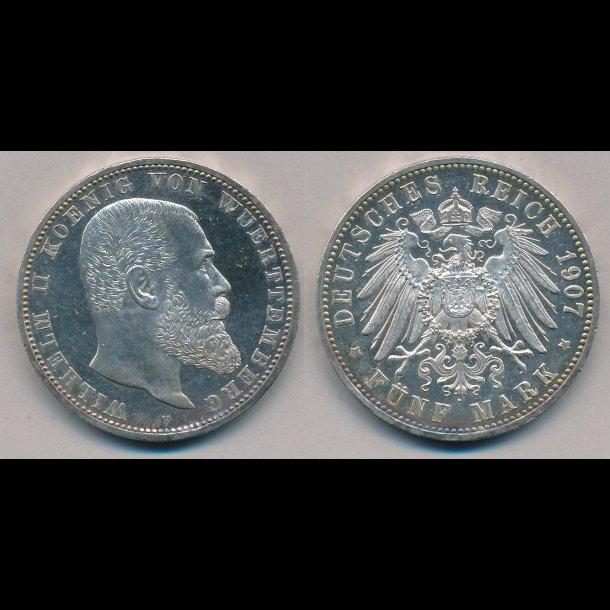 1907, F, Tyskland, 5 mark, Wilhelm II, Württemberg, M