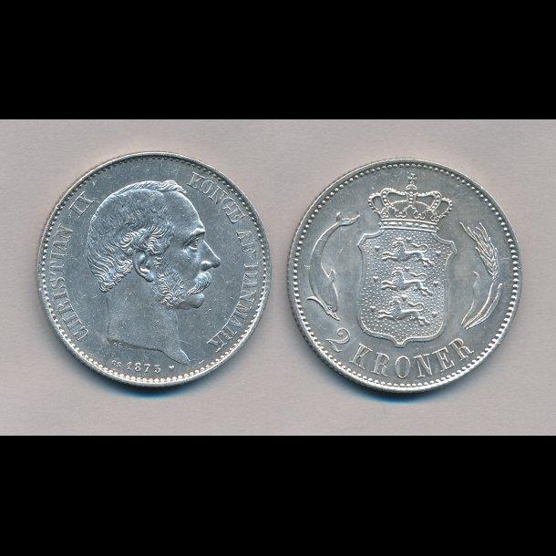 1875, 2 kroner, Christian IX, 1++