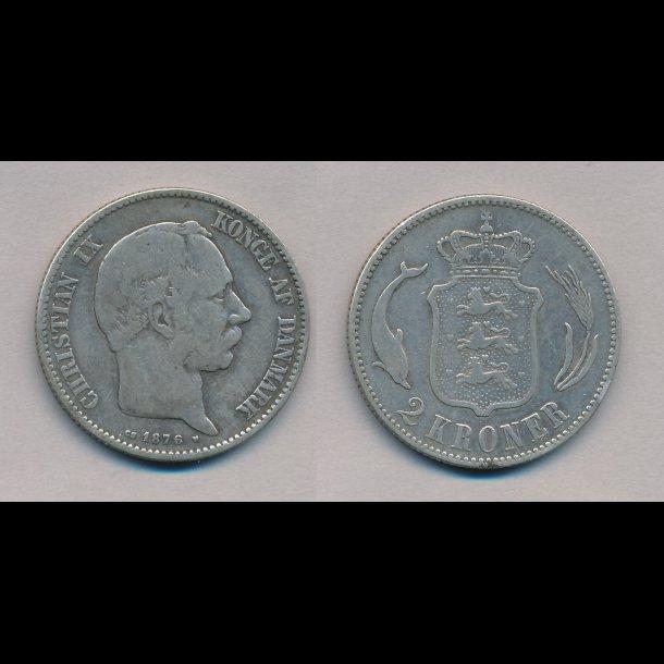1876, Christian IX, 2 kroner, 1
