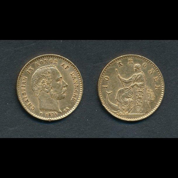 1874, Christian IX, 10 kroner, 1+