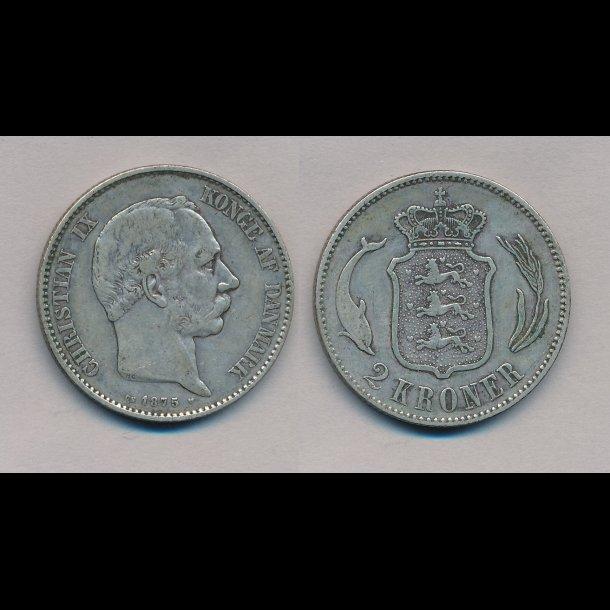 1875, Christian IX, 2 kroner,  1++